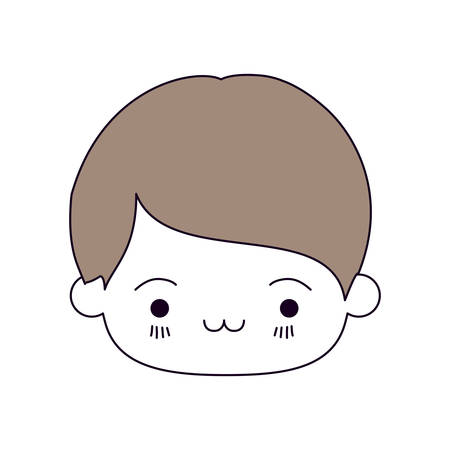 silhouette color sections and light brown hair of kawaii head of little boy with facial expression exhausted vector illustration Illustration