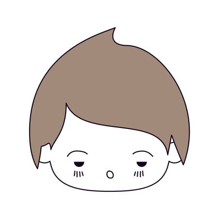 unpleasant: silhouette color sections and light brown hair of kawaii head of little boy with facial expression sad in closeup vector illustration Illustration