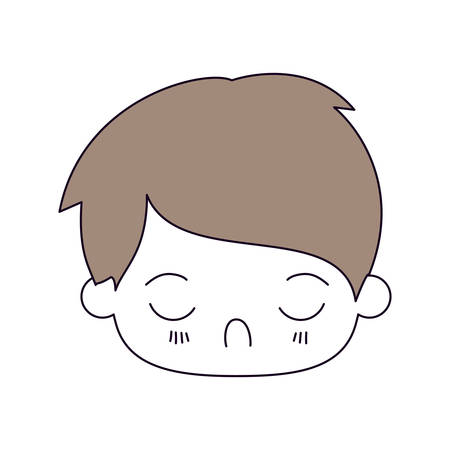 silhouette color sections and light brown hair of kawaii head of little boy with facial expression disgust with closed eyes vector illustration