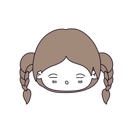 silhouette color sections and light brown hair of kawaii head little girl with braided hair and facial expression tired vector illustration