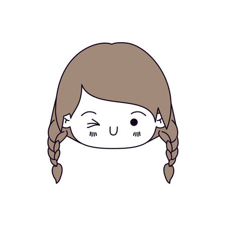 silhouette color sections and light brown hair of kawaii head little girl with braided hair and facial expression wink eye vector illustration