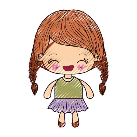 braided: colored crayon silhouette of kawaii little girl with braided hair and facial expression laughing vector illustration