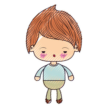 colored crayon silhouette of kawaii little boy with facial expression sad vector illustration Illustration
