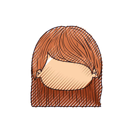 colored crayon silhouette of faceless head of little girl with straight hair vector illustration