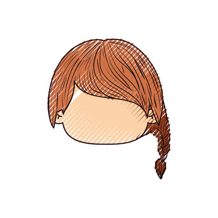 colored crayon silhouette of faceless head of little girl with pigtail hair in left side vector illustration