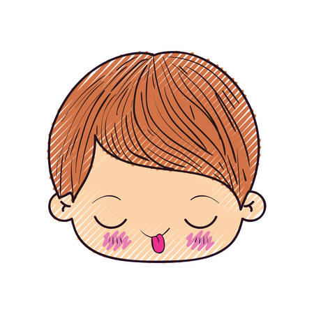 colored crayon silhouette of kawaii head of little boy with funny facial expression in closeup vector illustration Illustration