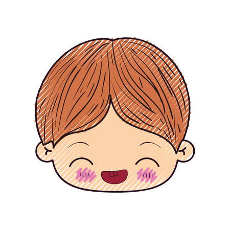 colored crayon silhouette of kawaii head of little boy with facial expression laughing in closeup vector illustration Illustration