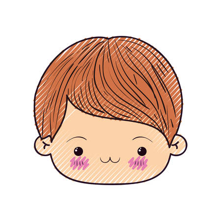 unpleasant: colored crayon silhouette of kawaii head of little boy with facial expression exhausted vector illustration