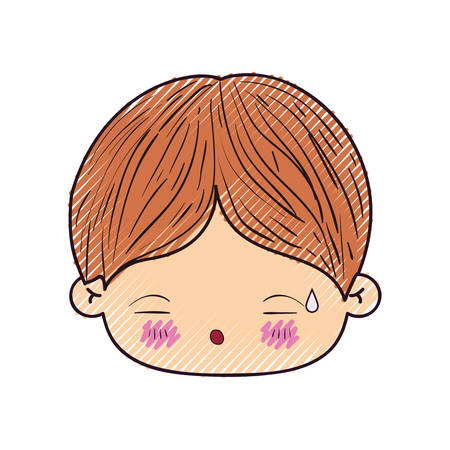 colored crayon silhouette of kawaii head of little boy with facial expression of tired vector illustration Illustration