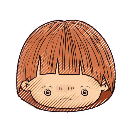 colored crayon silhouette of kawaii head of little boy with facial expression bored in closeup vector illustration