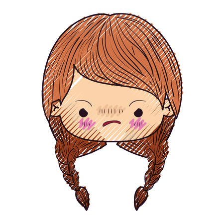 colored crayon silhouette of kawaii head little girl with braided hair and facial expression angry vector illustration Illustration
