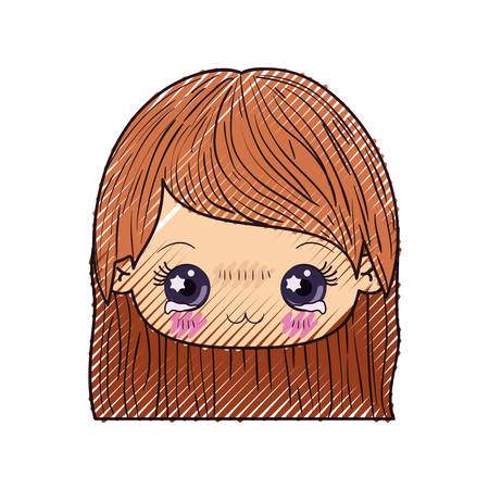 colored crayon silhouette of kawaii head of cute little girl with straight hair and facial expression depressed Illustration