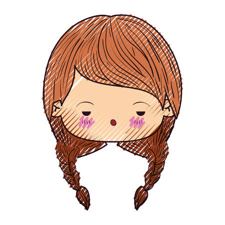colored crayon silhouette of kawaii head cute little girl with braided hair and depressed facial expression vector illustration