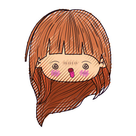 colored crayon silhouette of kawaii head cute little girl with long hair and furious facial expression vector illustration