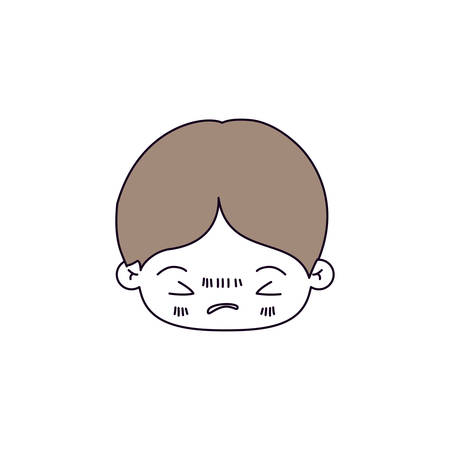 unpleasant: silhouette color sections of facial expression bored kawaii little boy with hair light brown vector illustration Illustration