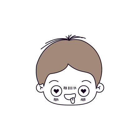 silhouette color sections of facial expression enamored kawaii little boy with hair light brown vector illustration