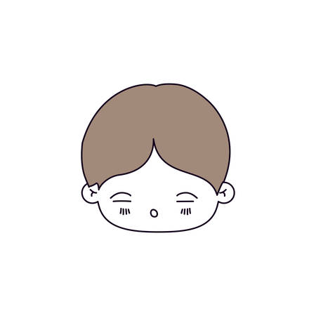 silhouette color sections of facial expression asleep kawaii little boy with hair light brown vector illustration Illustration