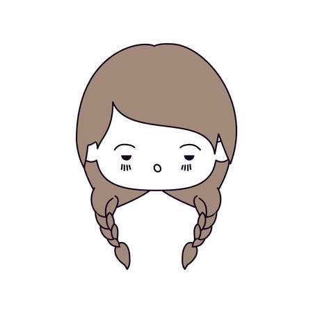 unpleasant: silhouette color sections of facial expression sad kawaii little girl with braided hair in light brown vector illustration