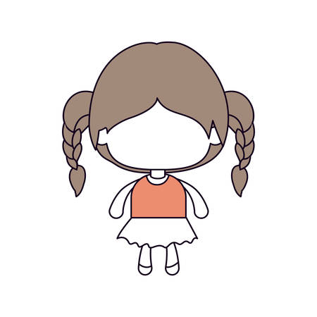 braided: silhouette color sections of faceless little girl with braided hair in light brown vector illustration Illustration