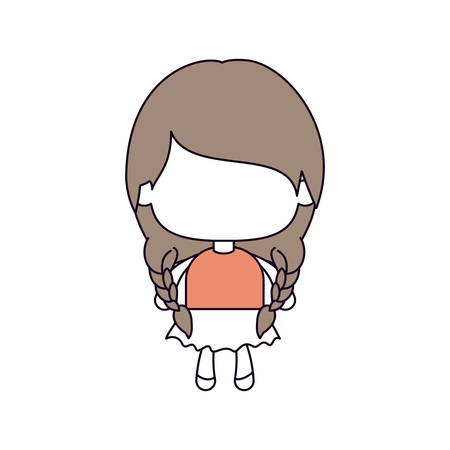 silhouette color sections of faceless little girl with pigtails hair and braided in light brown vector illustration Illustration