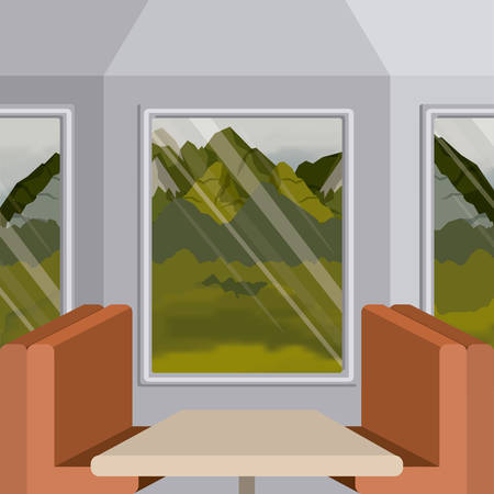 colorful background interior train with a passenger compartment and landscape scenary outside vector illustration Illustration