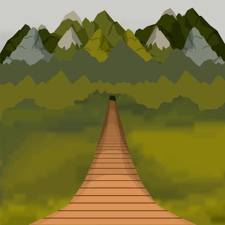 colorful background of outside suspension bridge without railing and forest scenary vector illustration Illustration