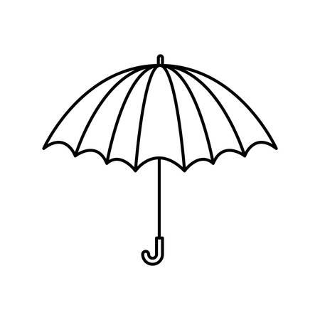 black silhouette with opened umbrella vector illustration Illustration