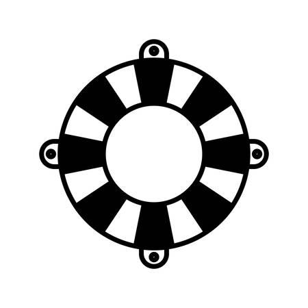flotation: black silhouette of flotation hoop vector illustration