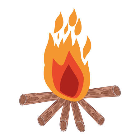 outdoor fireplace: white background with hand drawn color silhouette of campfire vector illustration
