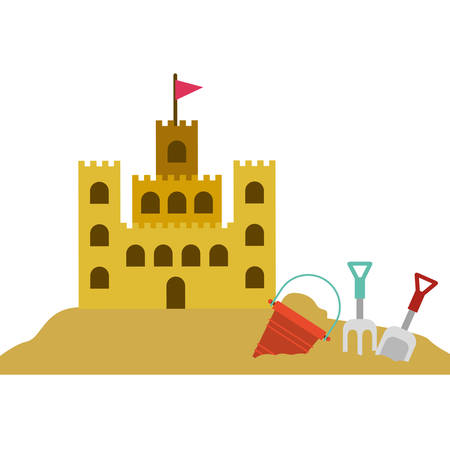 color silhouette with sand castle and set tools for playing in sand vector illustration