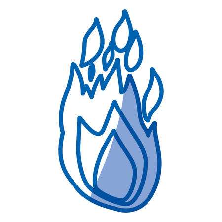 flammable warning: blue shading silhouette of hand drawn flame vector illustration