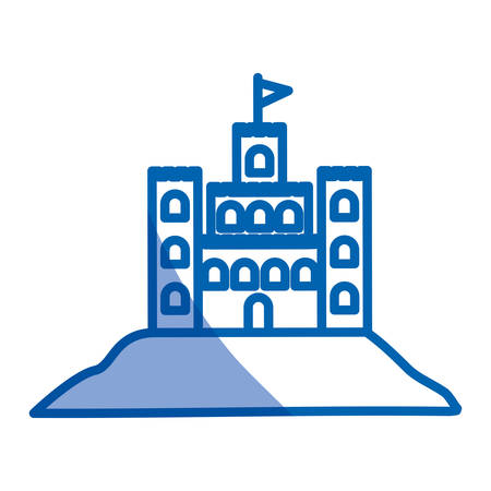 blue shading silhouette of sand castle vector illustration Illustration