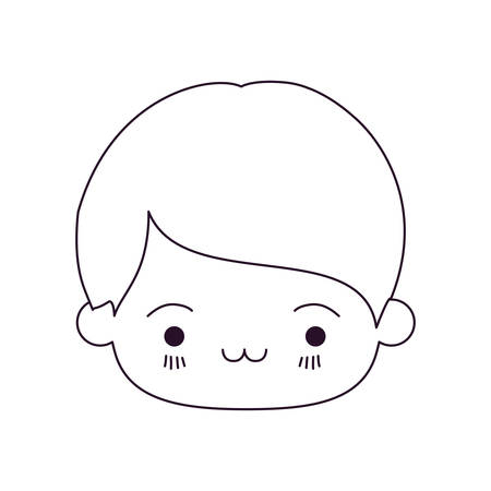 monochrome silhouette of kawaii head of little boy with facial expression exhausted vector illustration Illustration
