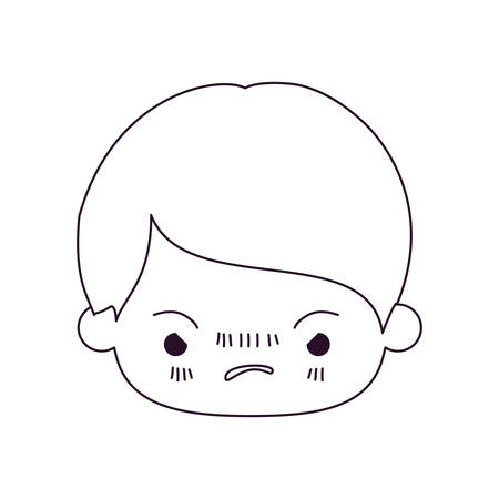monochrome silhouette of kawaii head of little boy with facial expression angry vector illustration Illustration