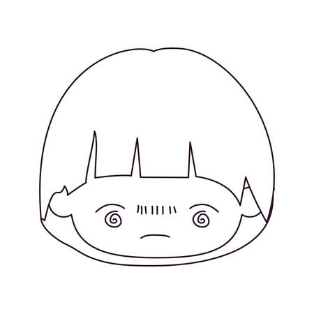 monochrome silhouette of kawaii head of little boy with facial expression bored in closeup vector illustration