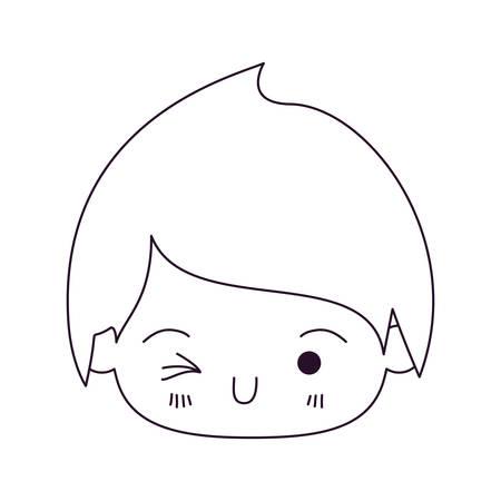 silhouette monochrome de kawaii tête du petit garçon un clin d'oeil vector illustration oeil