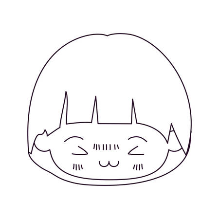 unpleasant: monochrome silhouette of kawaii head of little boy with mushroom hairstyle and facial expression furious in closeup vector illustration