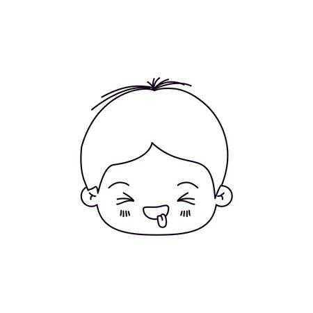 zwart-wit silhouet van gezichtsuitdrukking afkeer kawaii kleine jongen vector illustratie