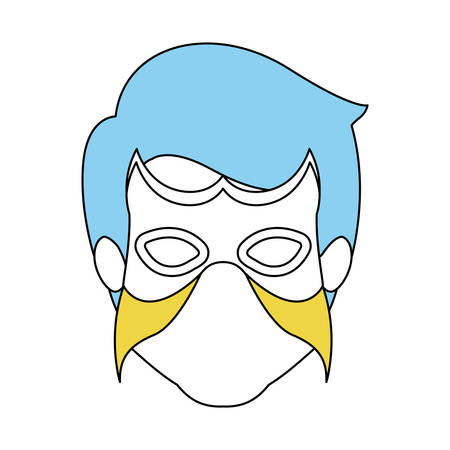 color silhouette with faceless man superhero with blue hair and mask vector illustration