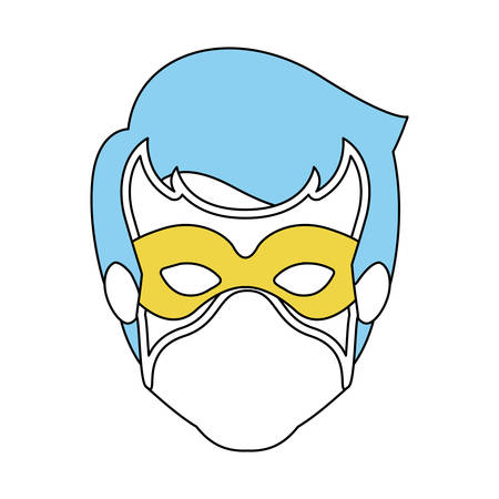 hair mask: color silhouette with faceless guy superhero with blue hair and mask vector illustration Illustration