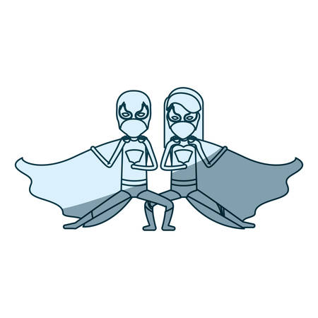 blue silhouette with duo of superheroes in defensive pose and her with straight long hair vector illustration Illustration