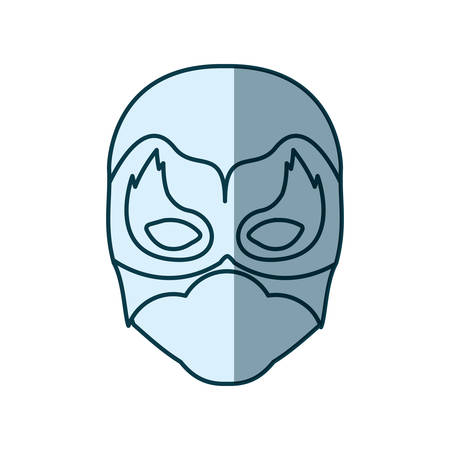 man flying: blue silhouette with face of man superhero masked with flame around the eyes vector illustration Illustration