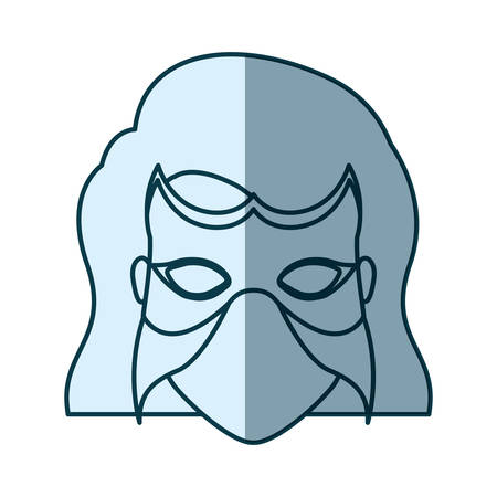 hair mask: blue silhouette with face of woman superhero with short hair and mask vector illustration