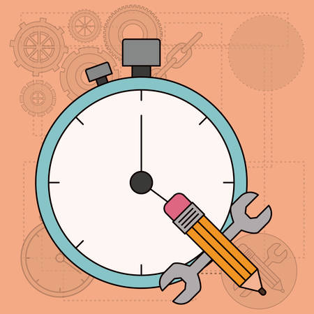 background with time planning for development of the construction vector illustration