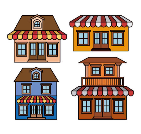 background with colorful set of houses with sunshades vector illustration