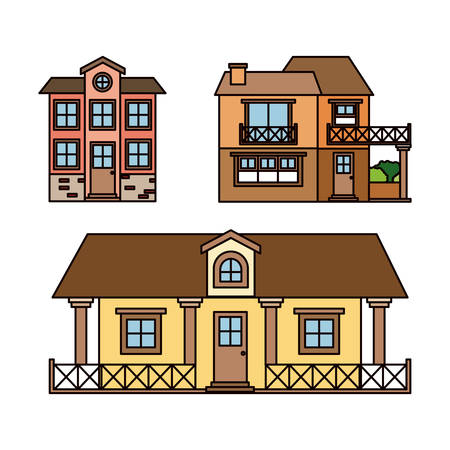 apartment: background with colorful set of country houses facades vector illustration