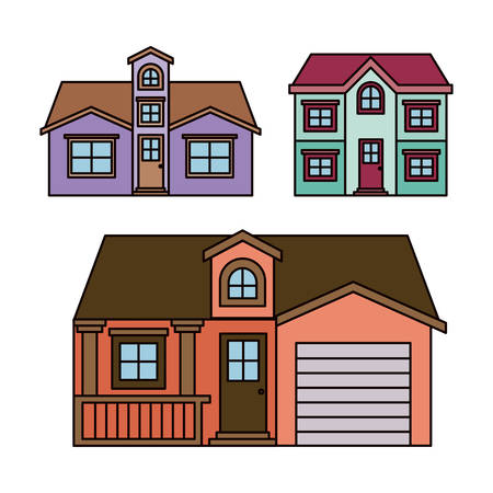 apartment suite: background with colorful group of houses facades vector illustration