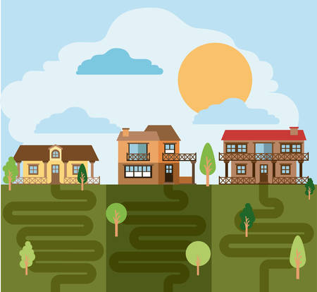 rural road: colorful landscape with group of country houses vector illustration