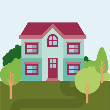rural road: A colorful natural landscape with country house of two floors vector illustration. Illustration