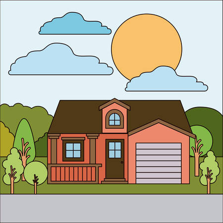 colorful natural landscape with country house with attic and garage on sunny day vector illustration